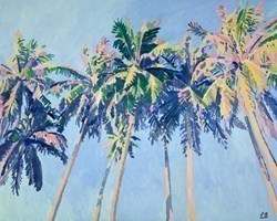Big Blue Palms by Leila Barton -  sized 39x32 inches. Available from Whitewall Galleries